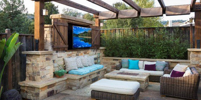 Create an outdoor living room space for enjoying the comforts of the indoors outdoors.